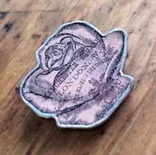 Elly Mental Vtg Retro Antique Style Rose Pink Flower Floral London Brooch Badge