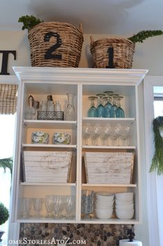 45 Amazing DIY Projects!  Could have this look with base cabinets from habitat store painted white with white melamine shelves on top