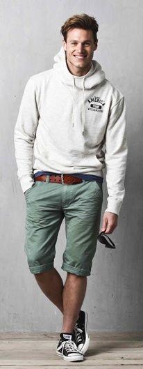 Shop this look on Lookastic:  https://lookastic.com/men/looks/hoodie-crew-neck-t-shirt-shorts-low-top-sneakers-belt-sunglasses/11658  — Grey Hoodie  — Navy Crew-neck T-shirt  — Burgundy Leather Belt  — Olive Shorts  — Black Sunglasses  — Black and White Low Top Sneakers