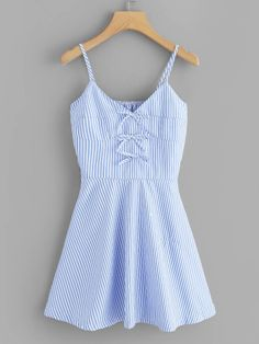 Shop Knot Detail Striped Cami Dress at ROMWE, discover more fashion styles online. Pretty Outfits, Pretty Dresses, Stylish Outfits, Cute Outfits, Fashion Outfits, Spring Fashion Casual, Trendy Fashion, Fashion Trends 2018, Casual Dresses