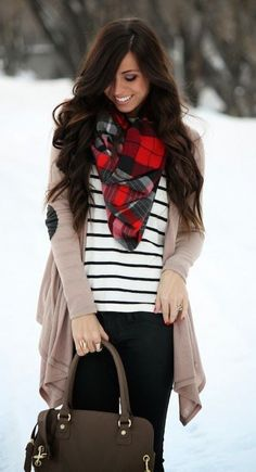 #winter #fashion / stripes + plaid