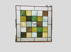 Green stained glass window panel geometric abstract by SGHovel