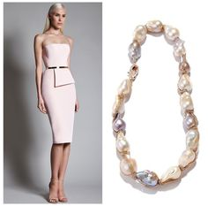 For a chic and edgy wedding. Or rehearsal dinner. Or engagement party. Or bridal shower. Or bridesmaids. Basically, everything // 18K white, rose, yellow gold double chain-wrapped natural color baroque pearl necklace with rose gold pave diamond clasp by Jordan Alexander Jewelry // Dress by Romona Keveza