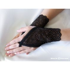 Delicate black lace gloves, Finger Loop, fingerless, gothic,... ($7) ❤ liked on Polyvore featuring accessories, gloves, victorian lace gloves, long fingerless gloves, goth gloves, victorian gloves and gothic gloves