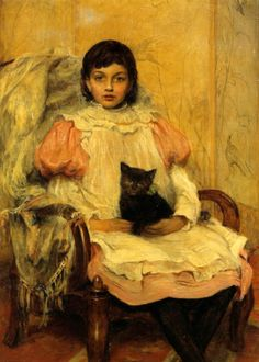 young girl with her cat | by William Frederick Yeames