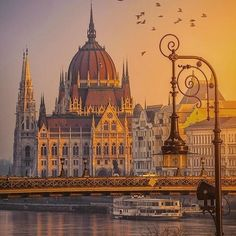 """Shiny morning at house of Parliament ~ Budapest, Hungary. Photo by // Hi Friends 🔔 Shop for """"Good Vibes Only ✴️✌️"""" clothing & apparel . Beautiful Places To Travel, Most Beautiful Cities, Cool Places To Visit, Beautiful Things, Romantic Destinations, Travel Destinations, Holiday Destinations, Paris Landmarks, Budapest Things To Do In"""