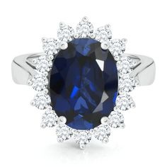 Fit for a Princess™ Oval Lab-Created Sapphire Ring in Sterling Silver