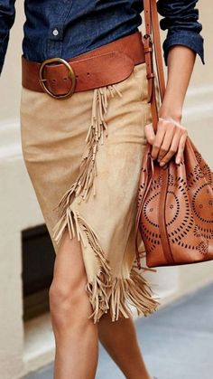 Swinging fringed trim spotlights the asymmetrical hem of this sumptuous suede wrap skirt. Fringed front panel and hem. Dry clean by a leather specialist. Look Fashion, Autumn Fashion, Womens Fashion, Fashion Tips, Fashion Trends, Fashion Websites, Fashion Spring, Fashion Details, Curvy Fashion