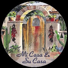 """Southwest Spirit Coasters - """"Lisa's Gate - Mi Casa Es Su Casa"""". Desert Canyon Gifts presents a variety of Southwestern Themed Beverage Coasters. Everything from cactus images to kokopelli, geckos, pottery, etc. These sandstone coasters are great accents to your Southwest Decor or simply purchase for a gift for any occasion. Made from natural sandstone - cork backing. 4"""" diameter. Set of 4 - $19.99. Sandstone Coasters. Beverage Coasters."""