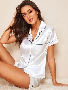 Pajamas For Women Sleepwear Transparent Sleepwear Ladies Pyjama Bottoms Meow Pyjama Cute Sleepwear, Sleepwear Women, Pajamas Women, Pijama Satin, Satin Pj Set, Silk Pj Set, Satin Pajamas, Pyjamas, Cute Pajamas