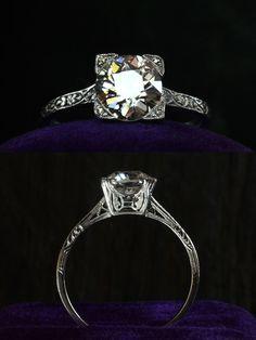 1920s Art Deco 1.38ct European Cut Diamond (G/H SI1) Ring.   Platinum Filigree, Single Cut Diamonds