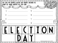 {FREEBIE!!} Make words with the letters in ELECTION DAY!