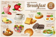 Check out Set of food icons. Breakfast. by Ann-zabella on Creative Market