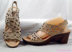 Earth womens Camellia slingback sandal wedge shoes 10 B beige leather #Earth #Slingbacks #sandals #shoes #womensfashion