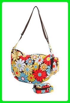 Very Lovely Bags Co. Folding Fold Away Slouch Bag - Retro Daisy - Shoulder bags (*Amazon Partner-Link)