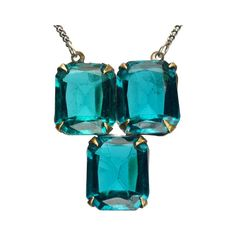 1930s Art Deco Blue Crystal Pendant, Brass, Vintage Sterling Chain :... ($135) ❤ liked on Polyvore