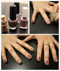 brides maids nails but in yellow or grey with a silver sparkle nail polish on the ring and thumb.
