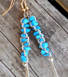Aqua Blue Earrings Dangle Hemp and Stone Jewelry by 70x7song,