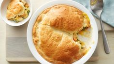 "Easy Chicken Pot Pie - This homemade chicken pot pie recipe streamlines your work by using frozen mixed vegetables, a can of condensed cream of chicken soup and your ""secret ingredient,"" Original Bisquick mix. Bisquick Recipes, Pie Recipes, Chicken Recipes, Cooking Recipes, Dinner Recipes, Family Recipes, Cooking Hacks, Casserole Recipes, Crockpot Recipes"