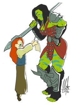 """tiredorcbutch: """" primehuntress: """" curvesandtusks: """" bigmsaxon: """" /tg/ request for a little girl asking her favourite orc gladiator for an autograph. """" Oh my god I'm screaming this is so cute! """" """" This is amazing and good. My skin has. Fantasy Character Design, Character Creation, Character Design Inspiration, Character Concept, Character Art, Concept Art, Character Ideas, Fantasy Races, Fantasy Warrior"""