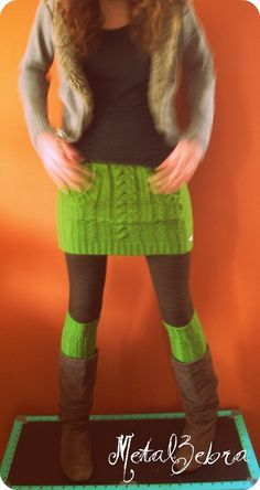 Refashioned sweater. The body becomes the skirt and the sleeves become leg warmers. I LOVE this!