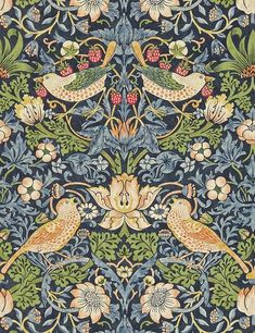 Strawberry Thief Wallpaper - Indigo / Mineral - William Morris & Co The Craftsman Wallpapers Collection William Morris Wallpaper, Morris Wallpapers, William Morris Art, William Morris Patterns, Floral Wallpapers, Craftsman Wallpaper, The Strawberry Thief, Blue Strawberry, Modern Wallpaper