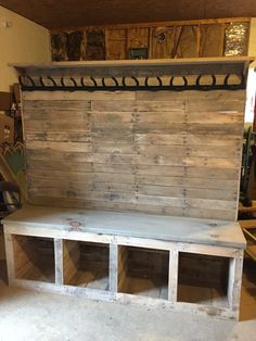 Pallet wood hall bench .