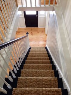 Use this idea for my basement stairs? Love how the railing goes all the way to the top & doesn't stop at ceiling level (like it did pre-remodel) Awesome! Use this idea for my basement stairs? Love how the railing goes all. Black Staircase, Staircase Landing, Staircase Runner, House Staircase, Staircase Railings, Wood Stairs, Basement Stairs, Staircase Design, Stairways