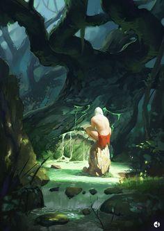sad tree, Gabo Romero (gaboleps) on ArtStation at https://www.artstation.com/artwork/0l1Jy