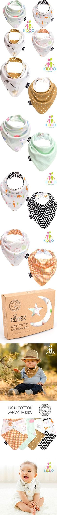 Baby Bandana Drool Bibs By Elleez - 4 Pack For Boys & Girls - Baby Gift Set - 100% Organic Cotton - Beautiful Reversible Bibs(2 Styles in 1) - Cool & Warm, Functional, Adorably Stylish (MULTI COLOR)