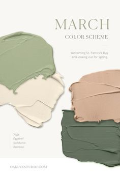 Earthy paint color scheme in grass and olive greens, peachy mauve blush, and warm white. Earthy paint color scheme in grass and olive greens, peachy mauve blush, and warm white. Green Colour Palette, Green Colors, Taupe Color Palettes, Green Color Schemes, Olive Green Color, Vintage Color Schemes, Pantone Colour Palettes, Warm Colours, Paint Colors For Home