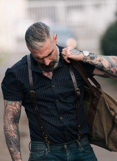 Sheehan & Co. Navy Striped Gabardine Short Sleeve Button Up