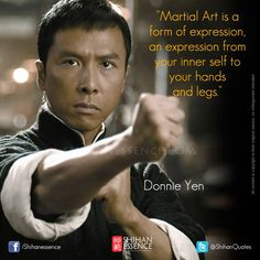 Martial arts star Donnie Yen plays Ip Man in the blockbuster Hong Kong kung fu flick. Martial Arts Quotes, Best Martial Arts, Chinese Martial Arts, Martial Arts Movies, Martial Artists, Wing Chun, Jackie Chan, Aikido, Donnie Yen Movie