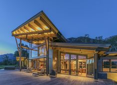 What I like: the lighting accentuating the roof. Be sure to check out the other photos in this project.  Kelly and Stone Architects
