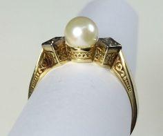 Damen Ring 585 Gold mit Perle 14 K  Ø 17  mm