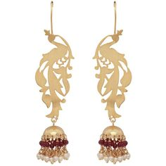 Carousel Jewels - Gold Peacock & Garnet Chandelier Statement Earrings (12,810 INR) ❤ liked on Polyvore featuring jewelry, earrings, gold jewellery, yellow gold chandelier earrings, peacock jewelry, hand crafted jewelry and chandelier earrings