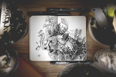 Self-taught artist and graphic designer Joseph Catimbang (aka creates visually complex doodles using only black pens and a 3d Artwork, Fantasy Artwork, Drawing Sketches, Art Drawings, Drawing Faces, Sketch Art, Drawing Tips, Sketching, Character Art