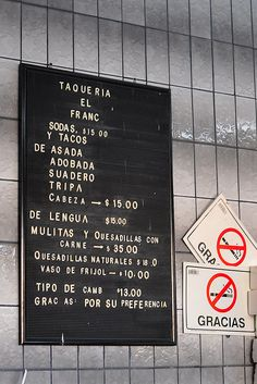 All sizes | TAQUERIA EL FRANC MENU, via Flickr.