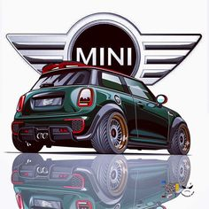 Ideas For Mini Cars Drawing Car Illustration, Illustrations, Mini Cooper Sport, E60 Bmw, Mini Copper, John Cooper Works, Car Drawings, Automotive Art, Art Graphique
