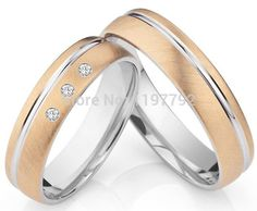 Luxury custom size 18k rose gold plated titanium couples ring sets his and hers wedding bands for anniversary $178.8