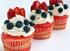 Flag Cupcakes with Vanilla Buttercream (use Betty Crocker Gluten Free cake mix)