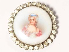 Rare Antique C19th painted porcelain Portrait rhinestones collectible button