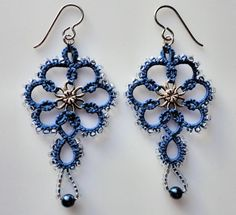 Blue tatted earrings, tatting, frivolite | Craftsy
