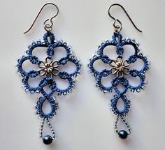 Blue tatted earrings, tatting, frivolite | Craftsy