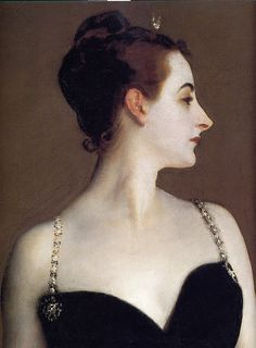 john singer sargent: Madame X (detail)    Oil painting. 1883-84. Sargent's famous and controversial work. Here we have a large detail. Sargent had originally painted the woman's right strap (our left) slipped off her shoulder and onto her arm. After the critical storm, he repainted the strap onto the shoulder as we see it now