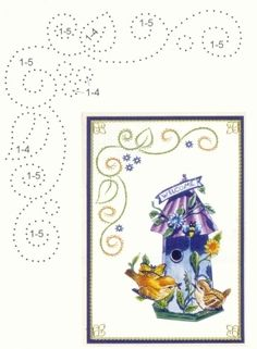 Hoekpatroon + voorbeeld Embroidery Cards, Embroidery Patterns, Card Patterns, Stitch Patterns, Stitching On Paper, Art Carte, Sewing Cards, Parchment Craft, Bird Cards