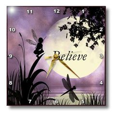3dRose dpp_35696_1 Believe Fairy with Dragonflies with Moon and Purple Sky Wall Clock, 10 by 10-Inch 3dRose http://www.amazon.com/dp/B006HYZ9UO/ref=cm_sw_r_pi_dp_cYePub1CD1W8N