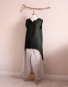 linen outfit swalow top and toggle peasant pants by annyschooecoclothing,