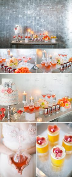 Coral and orange chevron wedding decor and color ideas, photos by Tyler James Photography Wedding Desserts, Fun Desserts, Wedding Decorations, Orange Wedding, Wedding Colors, Wedding Coral, Dessert Buffet, Dessert Tables, Cake Table