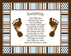 Blue & Brown Stripe Max Baby's Footprints with Poem